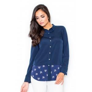 Dámské košile s dlouhým rukávem a námořnickým vzorem