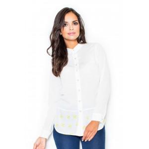 Košile dámská dlouhého střihu v bílé barvě