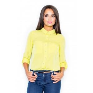 Dámská společenská košile s knoflíky v žluté barvě