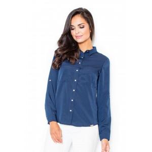 Košilová halenka dámská tmavě modré barvy s knoflíky