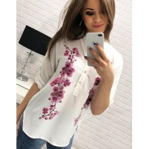 Dámská bílá košile s dlouhým rukávem a květinovým vzorem