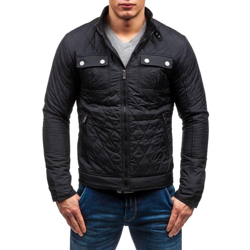 ... Elegantní prošívaná pánská přechodná bunda v černé barvě bez kapuce.  Předchozí ad4c6ba2374