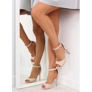 Sandálky na podpatku v béžové barvě pro dámy