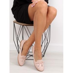 Elegantní dámské polobotky růžové barvy s vybíjením