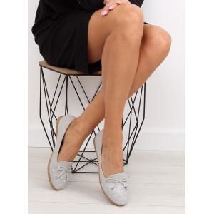 Jarní dámské polobotky v šedé barvě s nízkým podpatkem
