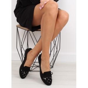 Černé polobotky dámské s nízkým podpatkem a mašlí