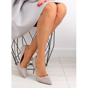 Luxusné dámské lodičky v šedé barvě s ostrou špičkou