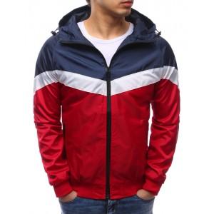Lehké jarní bundy v červené barvě s kapsami a kapucí