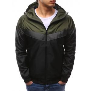 Jarní chlapecké bundy černé barvy se zelenou kapucí