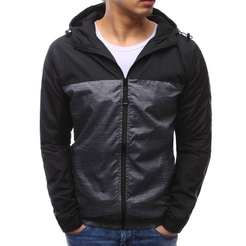93ccee840e32 Jarní sportovní bunda černé barvy s kapucí pro pány