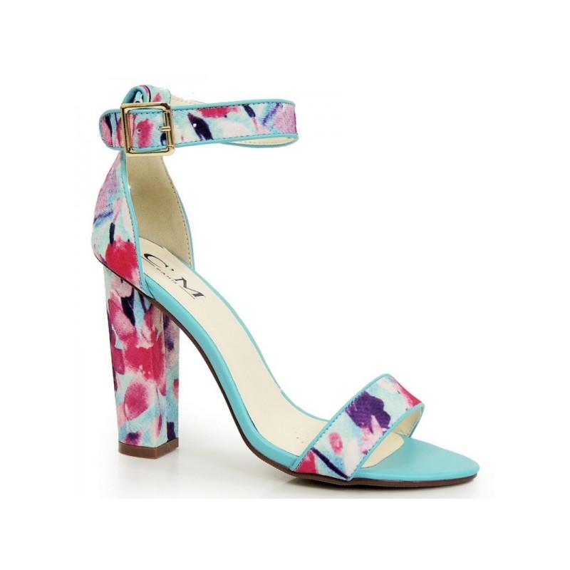 Sandály na tlustém podpatku s květinovým motivem  3e6cf2b450