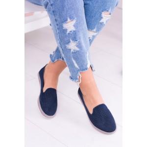 Dámské boty tmavě modré barvy s oblou špičkou
