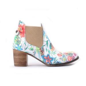 Květované dámské kožené boty na hrubém podpatku