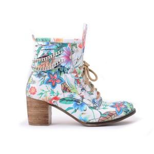 Dámské květované kotníkové kožené boty s řetízkem