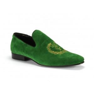 Zelené pánské kožené mokasíny COMODO E SANO