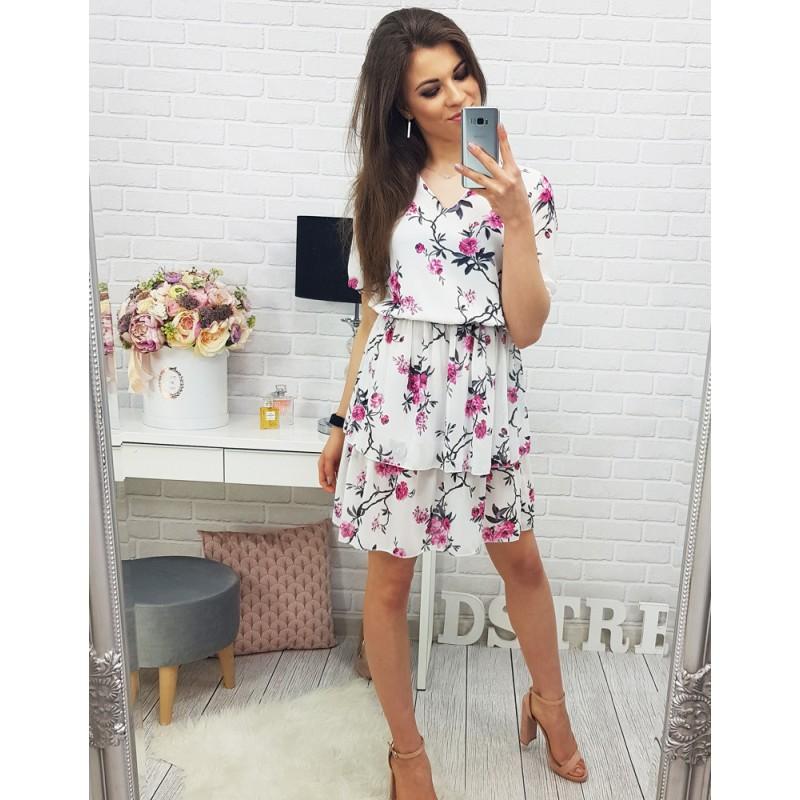 365cd50c3849 ... šaty Květinové dámské šaty nad kolena s krátkými rukávy. Předchozí