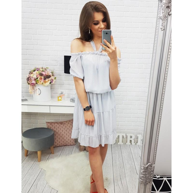 Tečkované dámske šaty na léto v bíle barvě 1689883f45