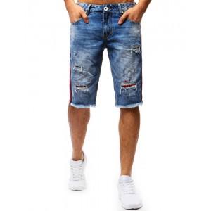 Pánské džínové kraťasy modré barvy s červenými detaily