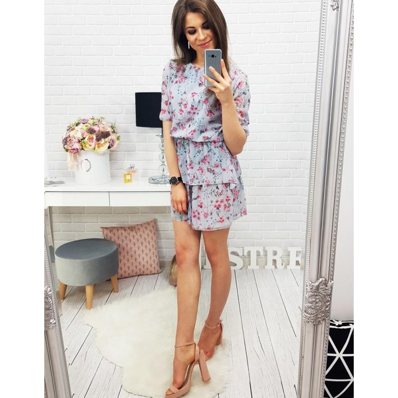3a1e2f5f6f45 Moderní letní šaty šedé barvy s květinovým motivem