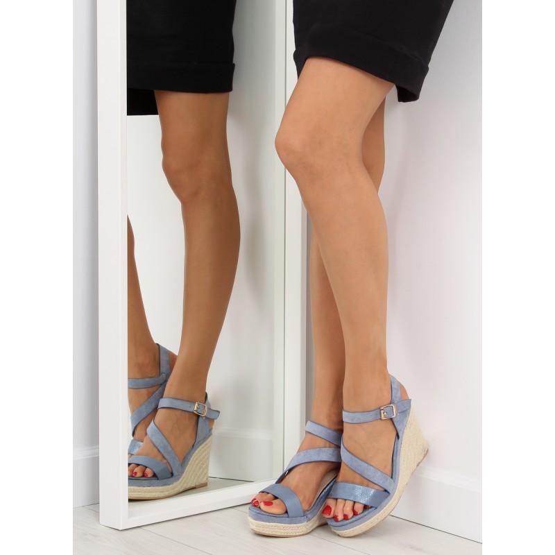 Dámské letní sandále na plném podpatku v modré barvě ac147b5612
