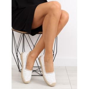 Letní boty dámské s pleteným vzorem bílé barvy