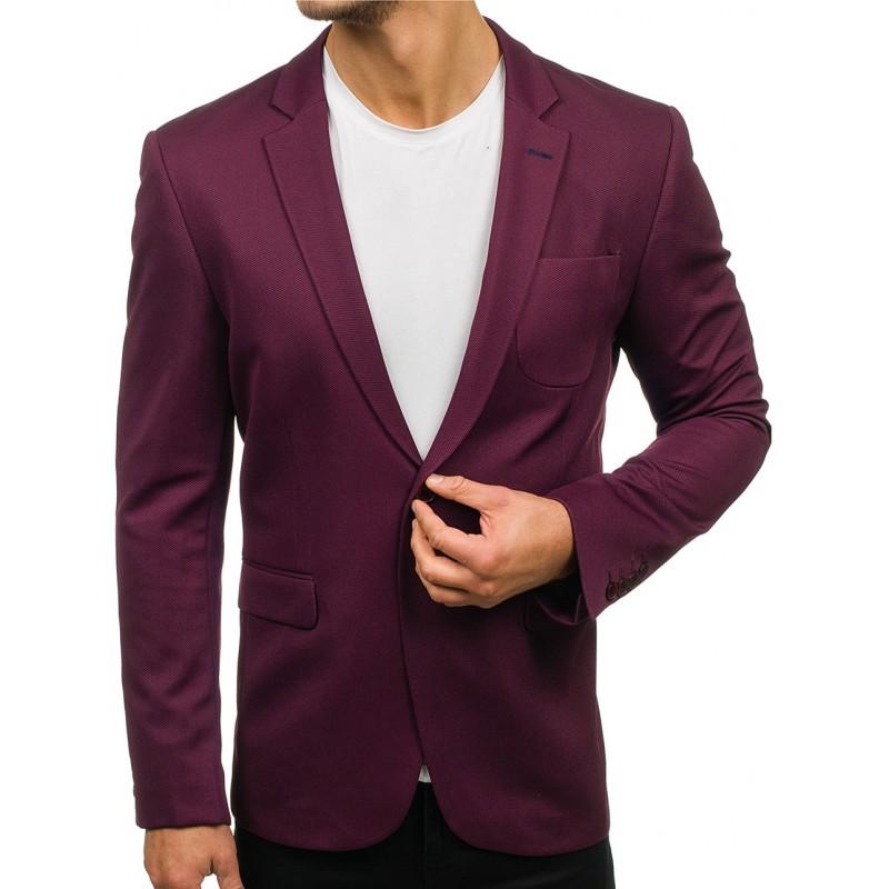 213055710694 Luxusní pánské sako ve fialové barvě slim fit