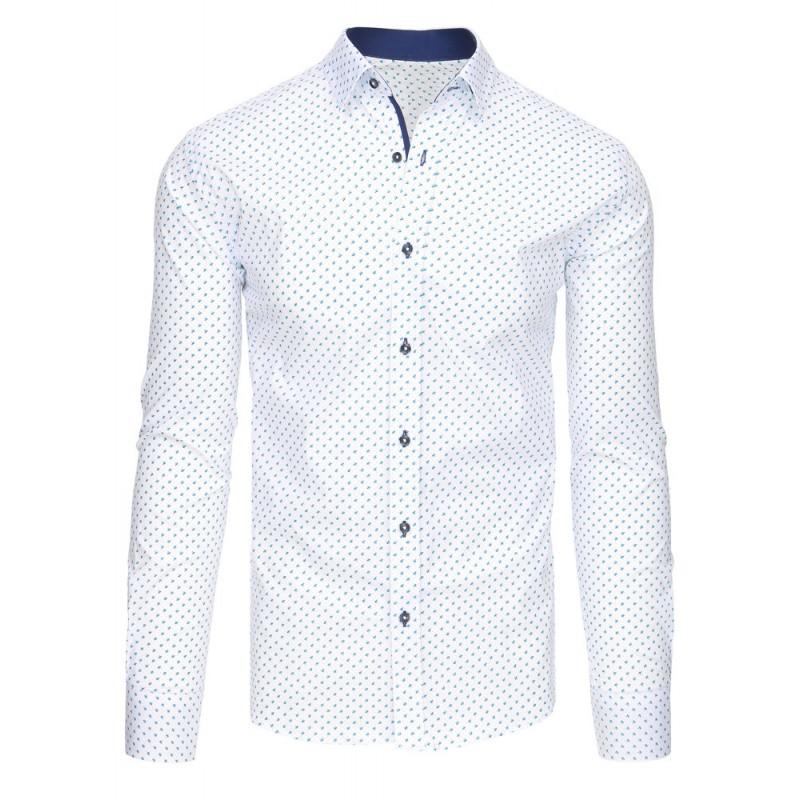 Moderní pánské košile bílé barvy s modrým vzorem ... 4eb8f515bf