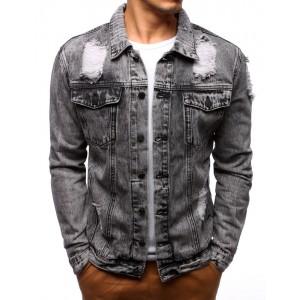 Jeans bunda šedé barvy pro muže
