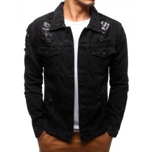 Riflová bunda černé barvy