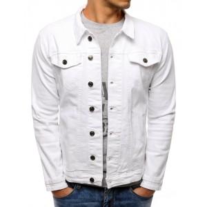 Jeansová bunda v bíle barvě