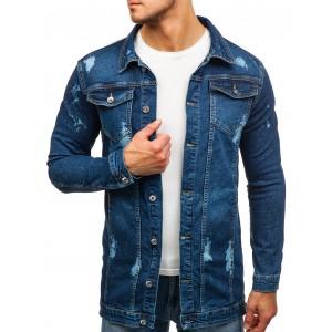 Pánská džínová bunda dlouhá