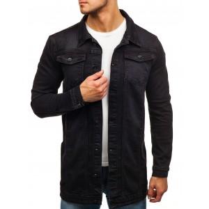 Černá riflová bunda s prodlouženým střihem