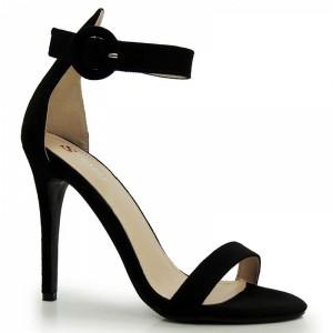 Jednoduché dámské sandály na podpatku v černé barvě