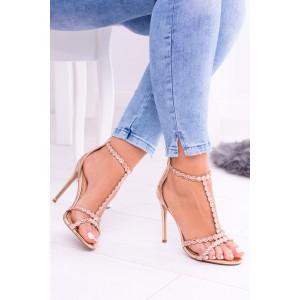 Elegantní dámské sandály na podpatku v mědené barvě