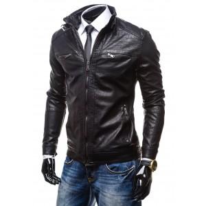 Kožená bunda černé barvy