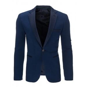 Elegantní tmavě modré pánské sako s koženým lemováním kolem kapes