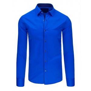 Královský modrá pánská moderní košile s jednoduchým vzhledem