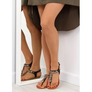 Sandály na léto s kamínky v černé barvě pro dámy