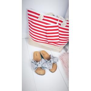 Látková taška pro dámy v pruhovaném motivu