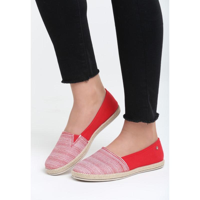 4d8ec205e3a Dámské letní boty červené barvy proužkované
