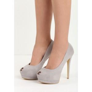 Boty na vysokém podpatku v šedé barvě