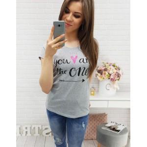 Bavlněná trička v šedé barvě s potiskem