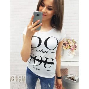 Bílé triko pro dámy s černým potiskem
