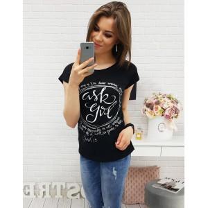 Černé dámské tričko s bílým nápisem
