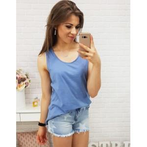 Modré tričko dámské se vzorem na zádech