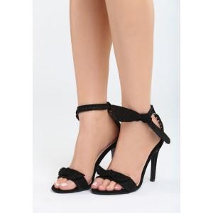 Sandály černé na jehličkovém podpatku