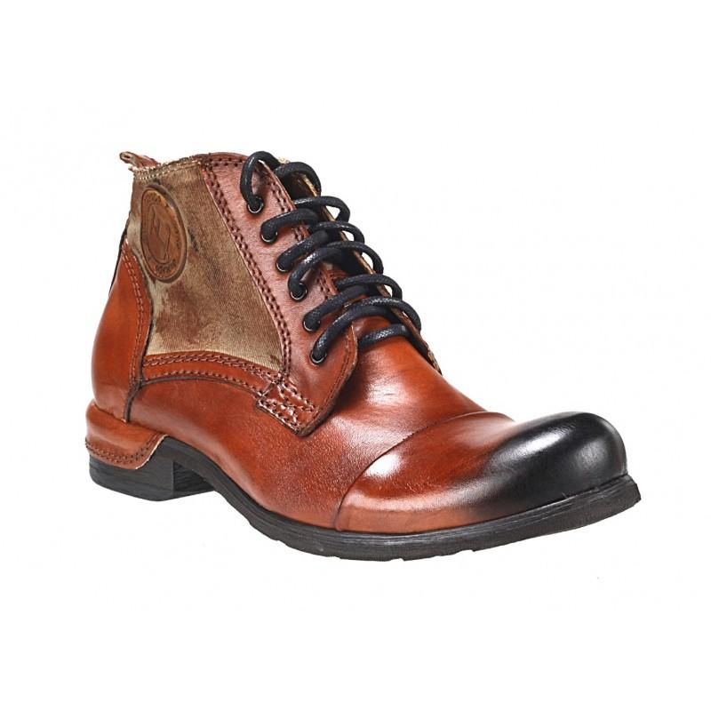 d2652c5ff9 Pánské kožené boty oranžovo-hnědé - manozo.cz
