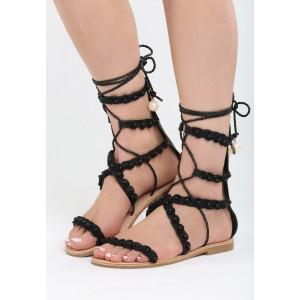 Gladiátorky pod kolena v černé barvě