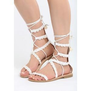 Sandály gladiátorky v bílé barvě