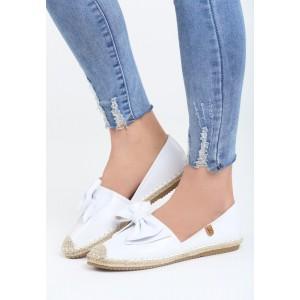 Letné dámske topánky v bielej farbe s mašľou
